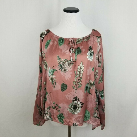 lola Tops - Lola Made in Italy Dusty Rose Floral LS Silk Top
